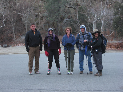 Tomcat, Alice, Kathy, Nathan and Bea at the trailhead