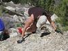 Lisa downclimbing