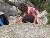 Kathy downclimbing
