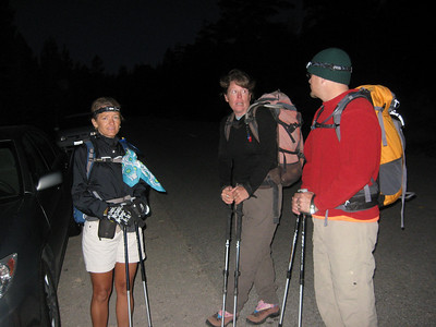 getting ready to hike at 4:30am