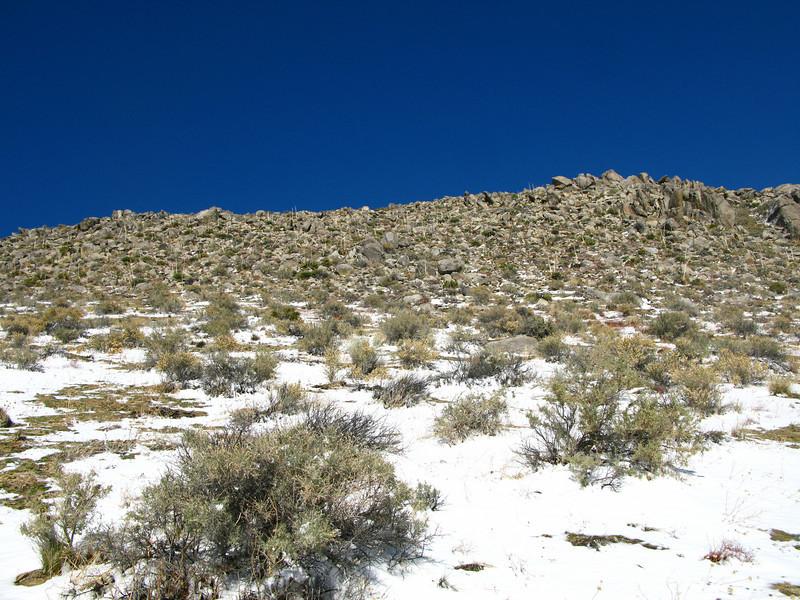 gaining elevation towards the summit