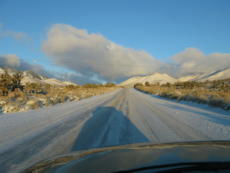 driving over Walkers Pass in the morning - fresh snow.