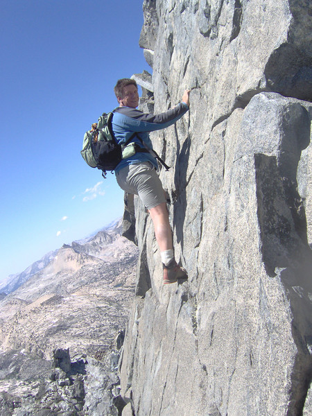class IV crack leading to the summit of Dragon Peak