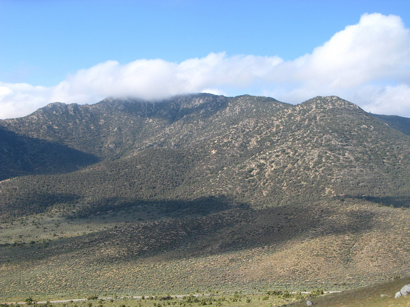 Scodie Peak to the south in clouds