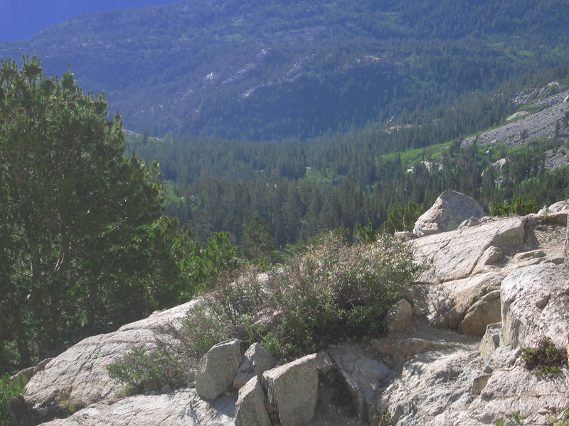 on the Piute Pass trail