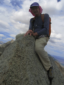 Dan sitting on the summit block