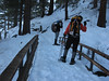 Rachel and moose Tracks taking photos from the bridge