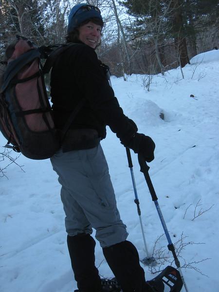 Rachel on snow shoes