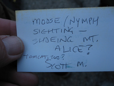 Scott M. left a card on Snow Nymph's vehicle - he did not know she was skiing on Kidd