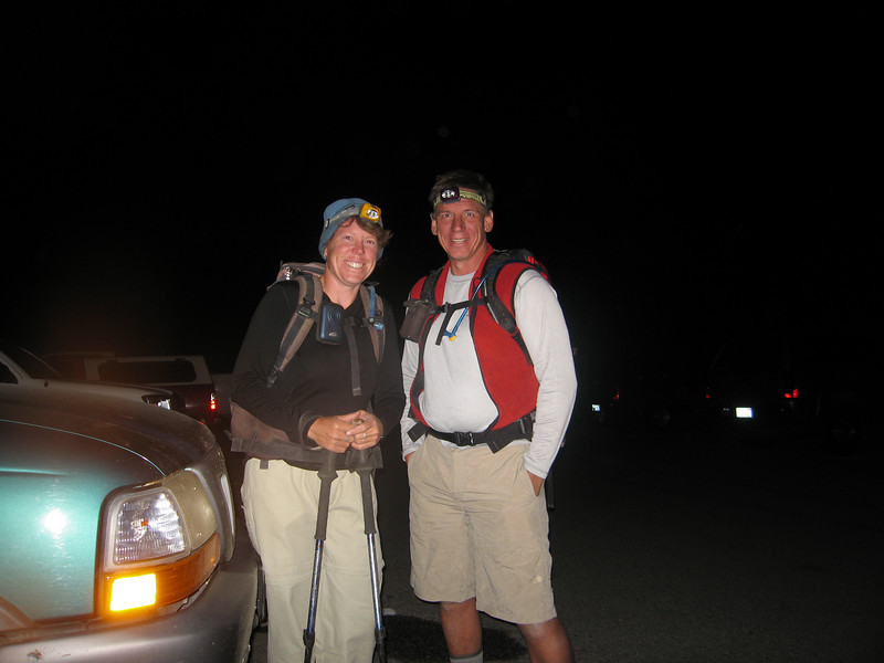 Rachel and Tom - 4:30am - ready to hike