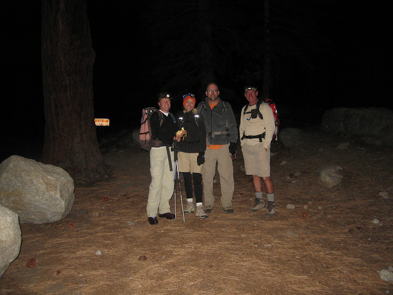 Rachel, Nordic Lass, Sierra Gator and Tomcat at the Portals trailhead - destination Mt. Russell