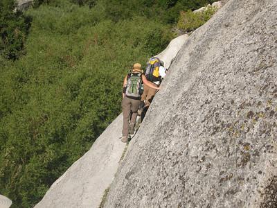 Tom and Becky cross the narrow ledge