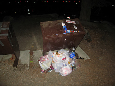 the trash can was full - so they just stacked it nearby