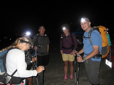 gathered in headlights to start our hike