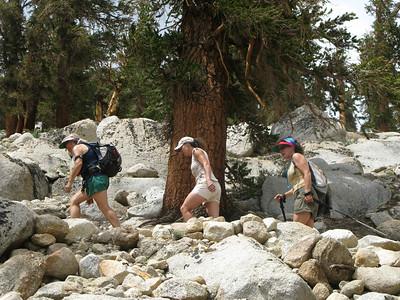 Alice, Lisa and Rachel - switchbacks to Cottonwood Lakes