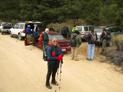 gathering at the PCT crossing of Chimney Creek Rd - this is our trail head