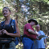 Karen with Glenn and Nathan checking maps