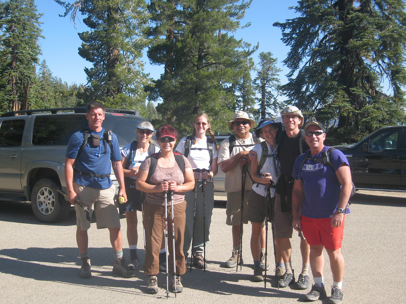 Tom, Alice, Bea, Tara, Dave, Jill, Sam, & Bob at the Sherman Pass trailhead