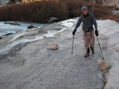 Mike walking carefully