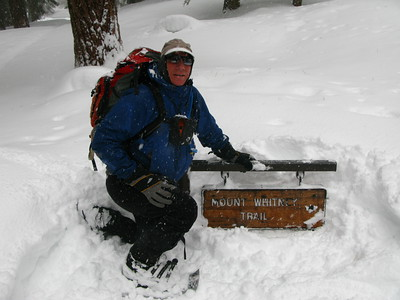 Tomcat at the Whitney trailhead sign