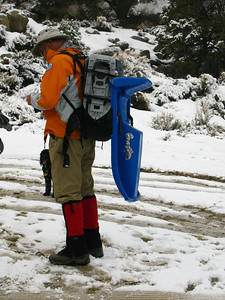Bob R. also brought a sled - he has throught about a nice sled ride downhill to get back to the car.