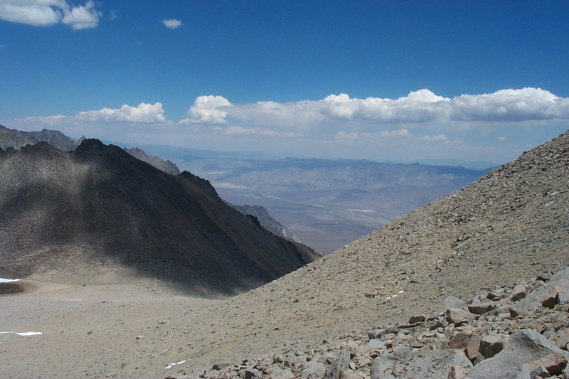 View of the Owens Valley about 8,000 feet below to the northeast.