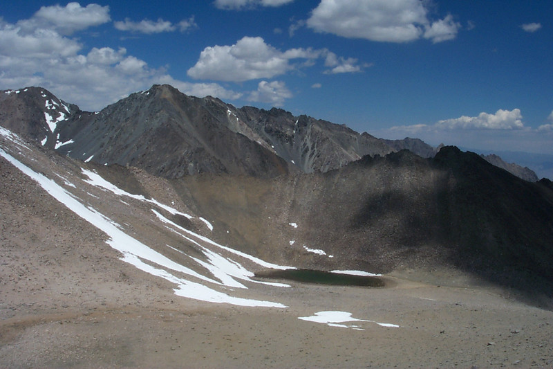 As I started hiking east towards the peak, Sardine Lake came into view about 400 feet below to the north.