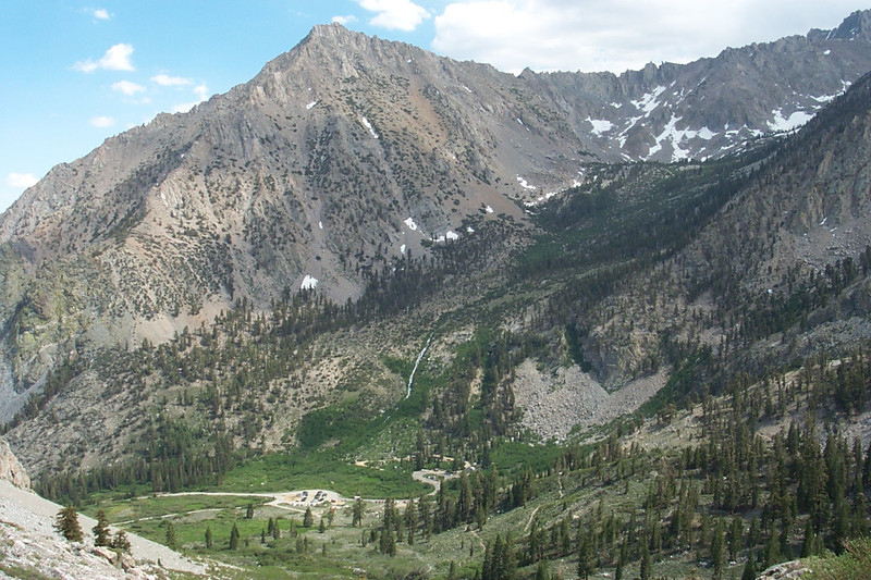 Looking down on Onion Valley with Independence Peak, 11,744 feet as I start gaining some altitude.