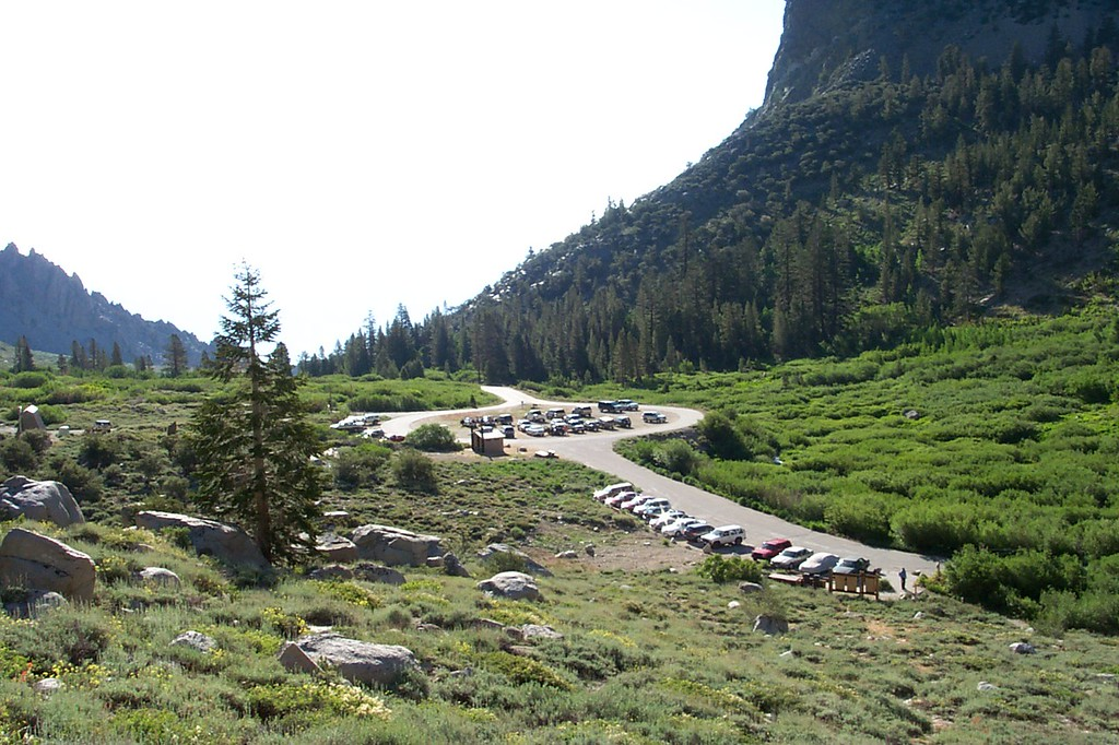 The next morning, looking back at the Onion Valley parking lot which is at about 9,200 feet as I start the hike to the peak.