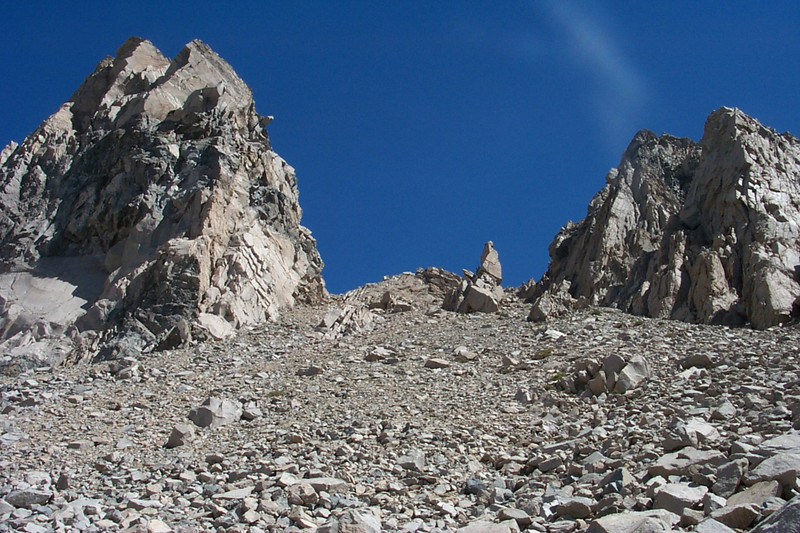 Starting to get near the top of the pass, climbing this loose rock is no fun.