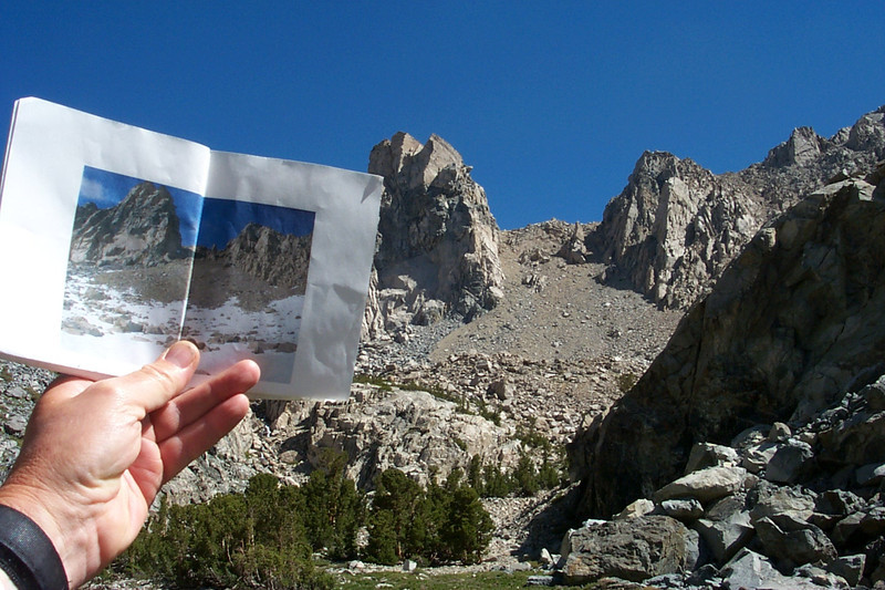 I wasn't sure about the route to the peak, so in copied this photo of the pass from someone else's hike to be sure I climbed up the right spot.