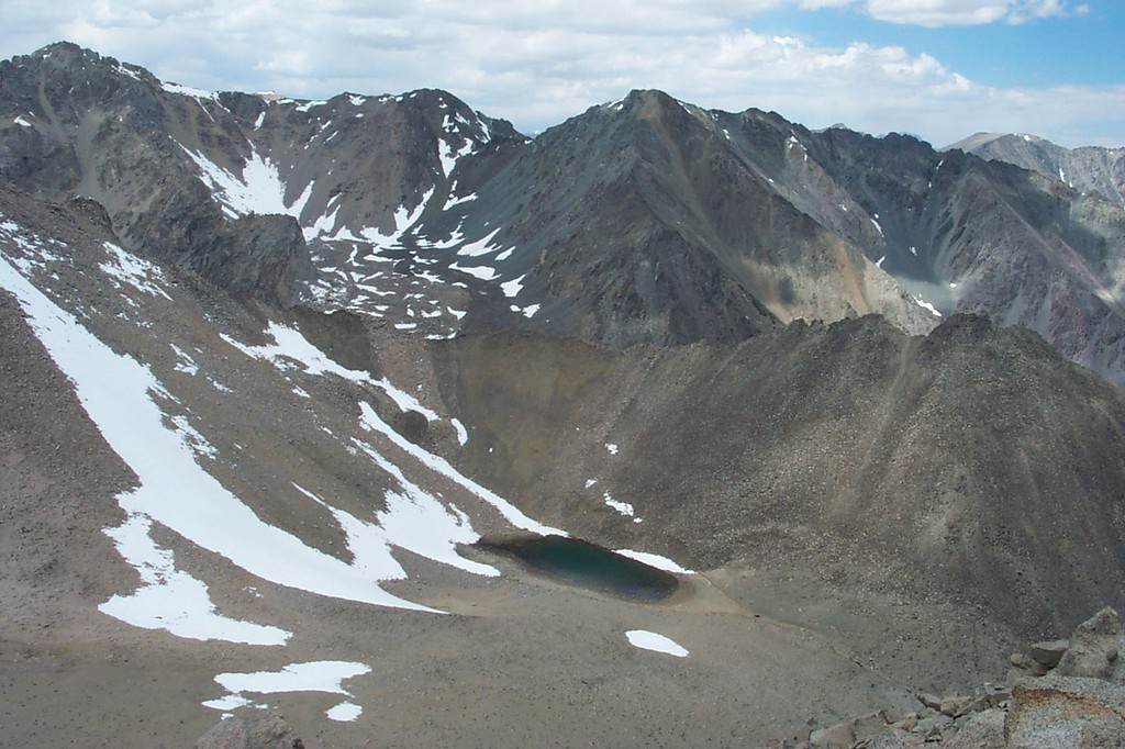The view to the northwest as I start down off the peak. Sardine Lake with Black Mountain, 13,289 feet on the left and Mount Mary Austin, 13,051 feet on the right.