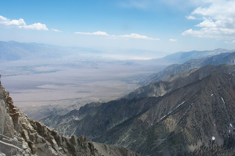 View of the Owens Valley to the southeast about 8,600 feet below.