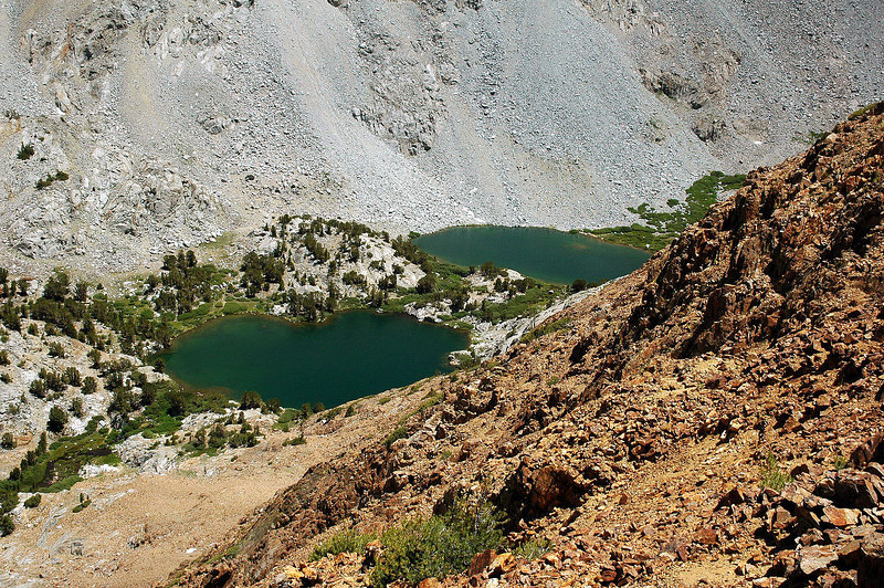 Two of the three Chocolate Lakes.