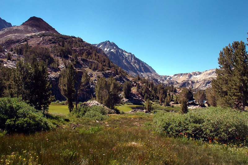This is our first view of Chocolate Peak on the left and Mount Agassiz center back.
