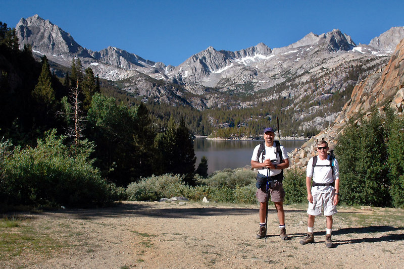 Bill and Joe(me) at the South Lake Trailhead at 9,850 feet. We plan to hike to Long Lake where Bill will be fishing while I climb Chocolate Peak and do the loop trail around the peak.