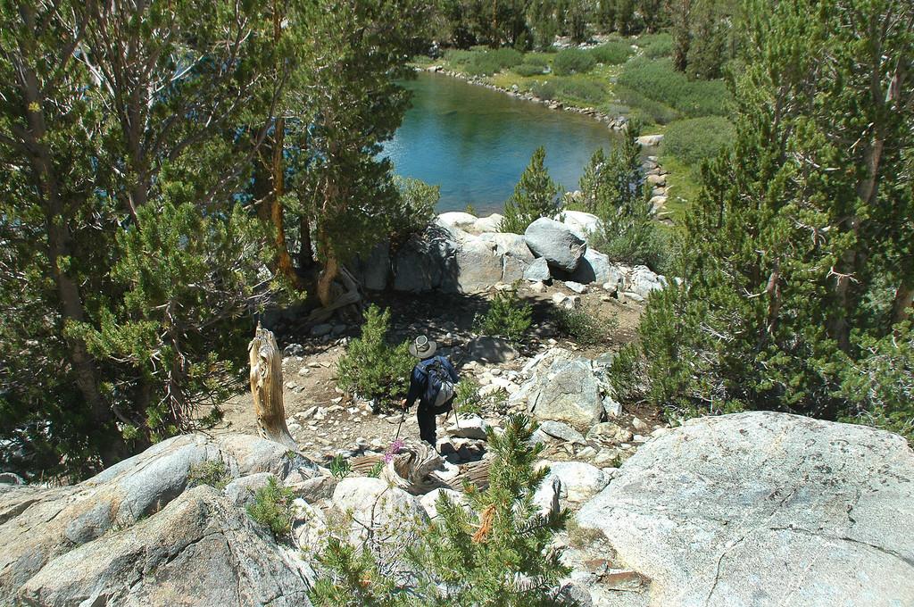 Hiking down to the lake.
