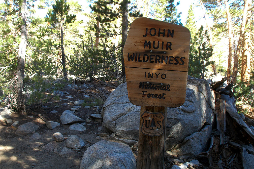 Entering the John Muir Wilderness on the Bishop Pass Trail.