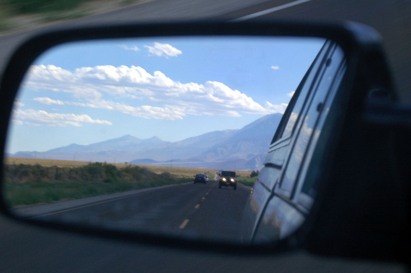 Tom in the mirror following me to Lone pine for pizza before the drive home.<br /> <br /> THE END
