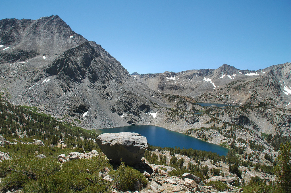 View of Picture Puzzle and Ruwau Lake as we hike up the south ridge to Chocolate Peak.