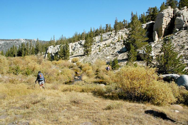 Crossing the creek near Last Chace Meadow.