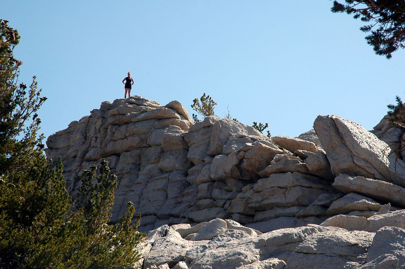 When I got to the top, Sooz was already up on this rock pile.