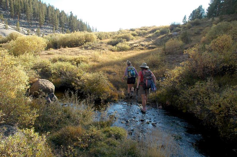 Sooz and Racel at the creek.