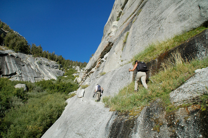 This route had us crossing a narrow ledge.