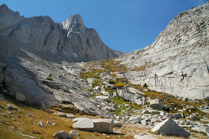 Looking up the slope we just hiked down. The little meadow is at it's top.
