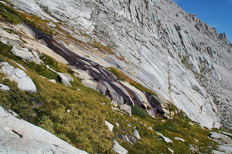The stream running down the slabs.