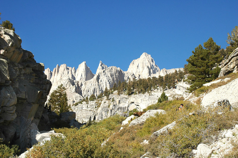 Needles and Mount Whitney as we near Lower Boy Scout Lake.