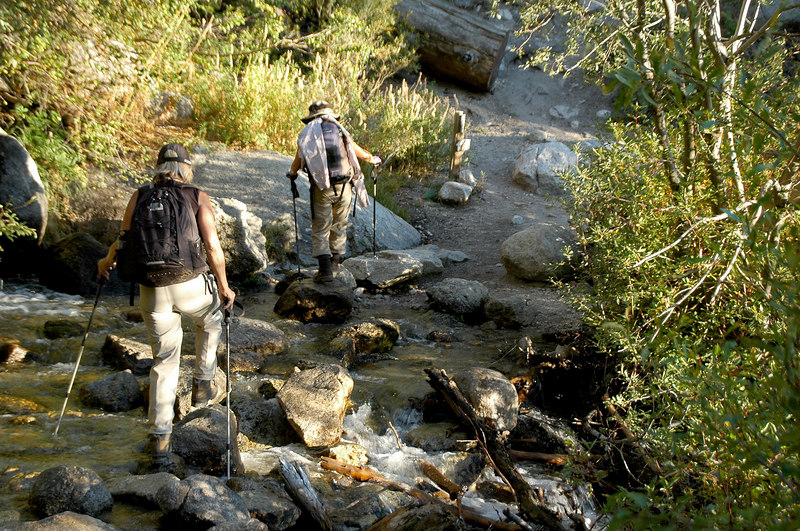 Crossing the North Fork of Lone Pine Creek. Cori showed us another trail that ends just above the creek on the Whitney main trail.
