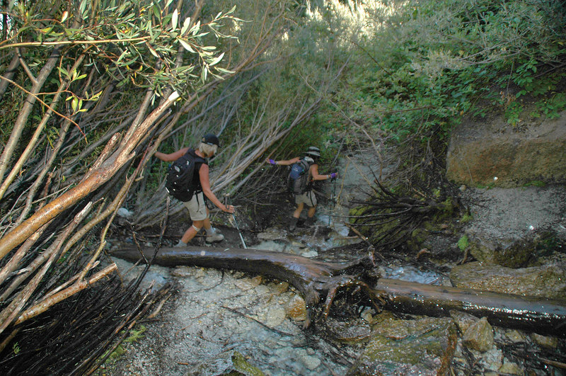 Crossing the creek at the waterfall.