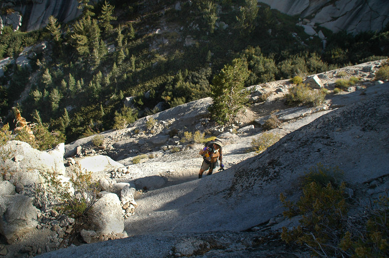 Looking down on Cori as we make our way down the Ebersbacher Ledges.